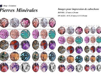 Mineral 60 images print cabochons stones