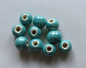 5 / 8 lot pearls porcelain turquoise blue round iridescent glazed earthenware ceramic ~ 8mm