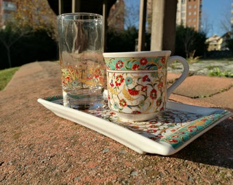 Turkish coffee set-  TraditionalTurkish coffee porcelain set-Espresso set- Turkish Coffee Cup,glasss and coffee Saucer porcelain-Painted
