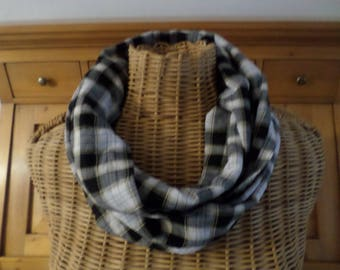 """snood """"wrinkled""""Plaid cotton in black and white tones"""