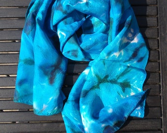 Scarf blue scarf painted by hand, hand-made, unique piece