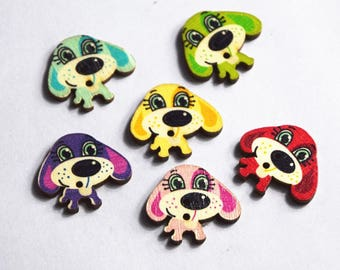 Wood dog multicolor 10 buttons