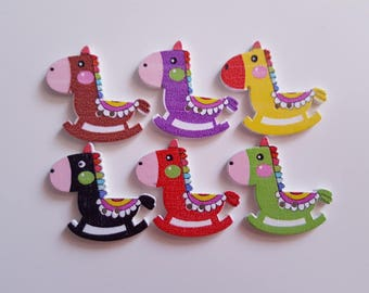 Set of 10 wooden rocking horse buttons