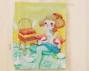 The little girl with ducks Patchwork fabric coupon