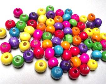 multicolored 8 MM wood 50 beads.