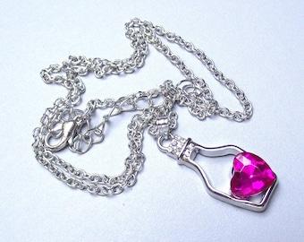 Silver Pendant + Hot Pink Rhinestone Heart.