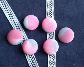 Pink/gray set of 6-28 mm fabric covered buttons