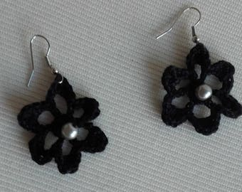 Black cotton with Pearl Earrings