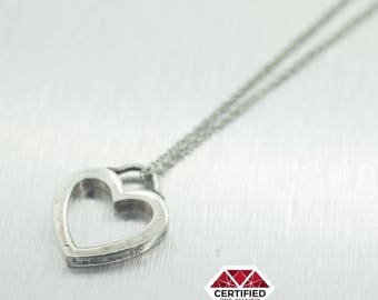 """Tiffany and Co 925 Sterling Silver Open Heart Pendant Necklace Size 16"""""""
