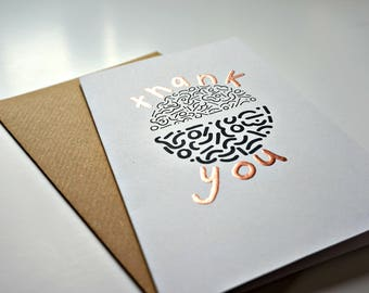 Contemporary 'thank you' doodle greeting card