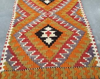 Turkish kilim small kilim pastel kilim anatolian kilim old kilim 2.7ft_1.6ft