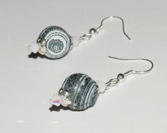 White and blue jean earrings