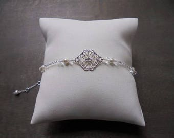 "Wedding ""Elena"" silver plated with swarovski pearls bracelet"