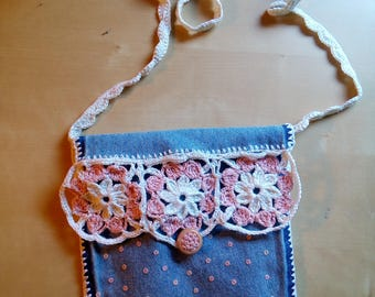 eco-friendly children's crochet bag with shoulder strap and white and pink sequined embroidery