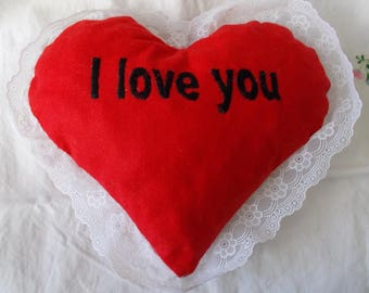 Red lace heart pillow white