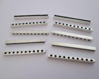 10 perle séparateur 10 rangs en métal argenté 39 x 4 mm