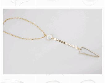Freshwater pearl lariat, quartz necklace, gold pearl lariat, stainless steel necklace, fashion trend lariat