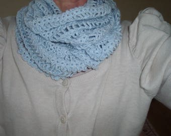 snood or scarf closed, pineapple motif, hand crocheted sky blue