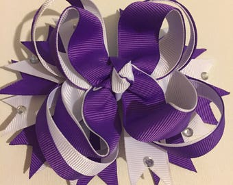 Purple and White Hair Bow