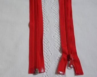 Detachable 25 cm red zipper