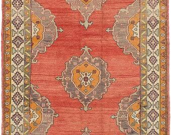 """Vintage Turkish Rug, Anatolian Turkish Runner Rug, Orange Vintage Runner Rug, Copper Wool Rug, Vintage Floral Antique Rug, 5'1"""" x 10'2"""""""
