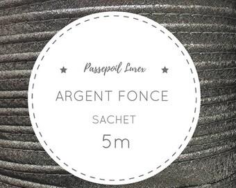 Sachet 5 m piping lurex - dark silver