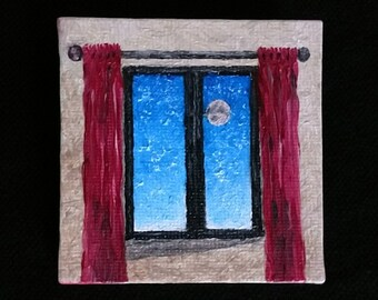 "Oil Painting Real, Wall Art, Canvas Art, Original Hand Painted ""The Window"""