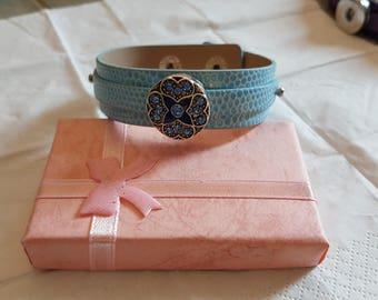 Bracelet NOOSA ICON/leather/Blue/Crystal/gem/glass/Cuff/Bracelet/Biou/gift/star/cabochon/bead/wrist/interchangeable/button/party