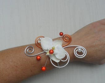 Wristband with ivory Orchid - silver and orange