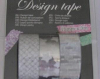 Set of 3 glitter adhesive tape