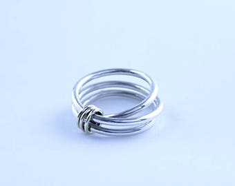 925 Sterling Silver Wrapped Wire Ring with 9ct Yellow Gold Loops