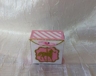 Box dragees carousel merry-go-round horse theme
