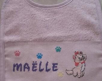 Name or motif embroidered baby bib