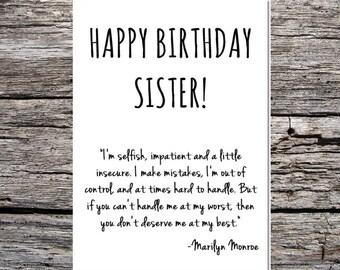 inspirational funny birthday card happy birthday sister marilyn monroe quote #2