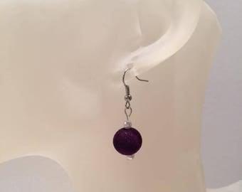 Purple velvet bead earrings