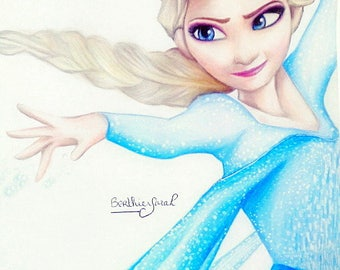 Drawing the Queen Elsa from frozen with colored pencils