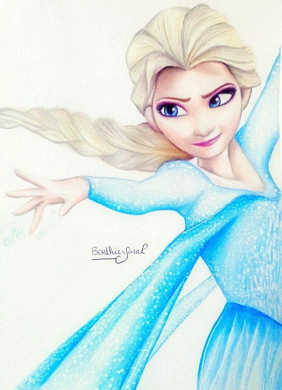 Dessin elsa la reine des neiges aux crayons de couleurs - Raiponce la reine des neiges ...