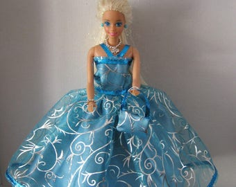 Turquoise satin dress lined with organdy (B97)