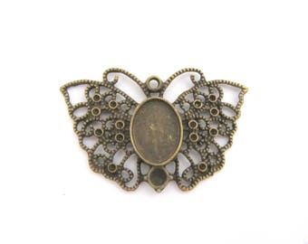 Support cabochon pendant, bronze Butterfly cabochon 10 x 14