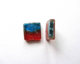 Square red and blue glass bead