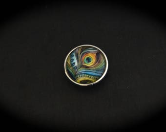 Cabochon pressure fancy 18mm for jewelry - Peacock feather