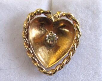 18K Yellow Gold and Yellow Diamond Heart Earrings