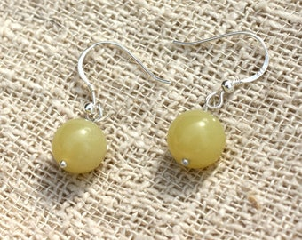 Earrings 925 sterling silver and lemon Jade 10mm