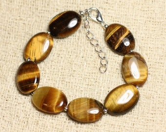Bracelet 925 sterling silver and 18mm oval Tiger eye stone-