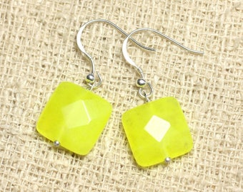 Earrings 925 sterling silver and neon yellow Jade - stone 14mm faceted square