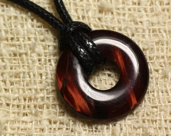 Gemstone - 20mm Donut Bull's eye pendant necklace