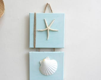 Seaside painting duo: starfish, shells and linen thread