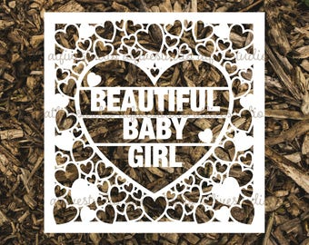 Beautiful Baby Girl Papercutting Template for Personal or Commercial Use Download Cut File JPEG PNG Newborn Birth Congratulations