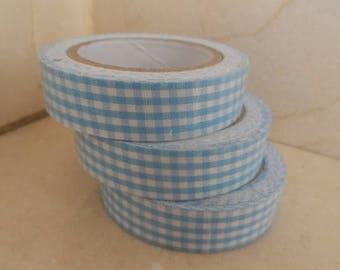 1 roll of adhesive fabric gingham blue 5 meters