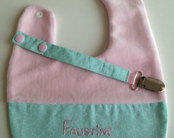 Personalized bib and pacifier clip set